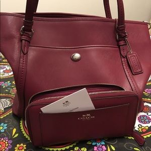 Authentic fuchsia coach tote & coach wallet